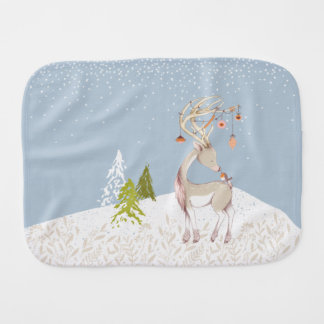 Cute Reindeer and Robin in the Snow Burp Cloth
