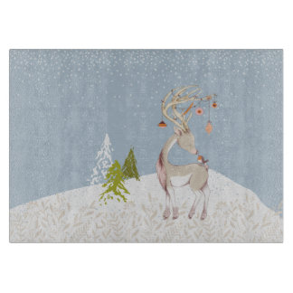 Cute Reindeer and Robin in the Snow Cutting Board