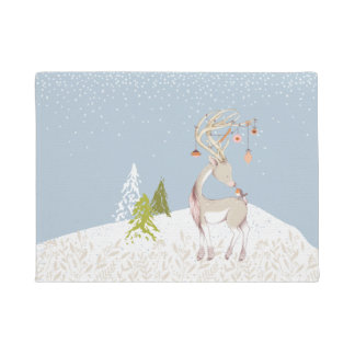Cute Reindeer and Robin in the Snow Doormat