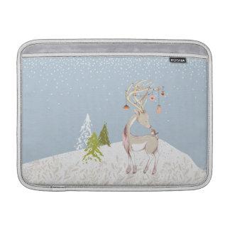 Cute Reindeer and Robin in the Snow MacBook Air Sleeves