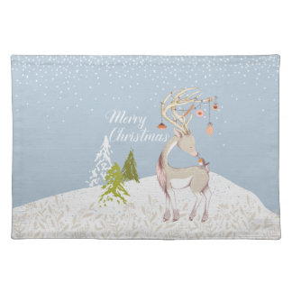 Cute Reindeer and Robin in the Snow Placemat