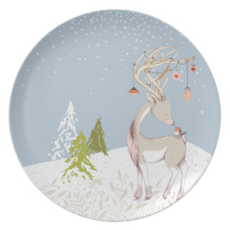 Cute Reindeer and Robin in the Snow Plate