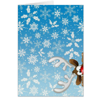 Cute reindeer and snowflakes on Christmas card