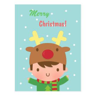 Cute Reindeer Boy Christmas For Him Postcard
