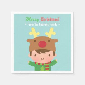 Cute Reindeer Boy Christmas Party Supplies Paper Napkin