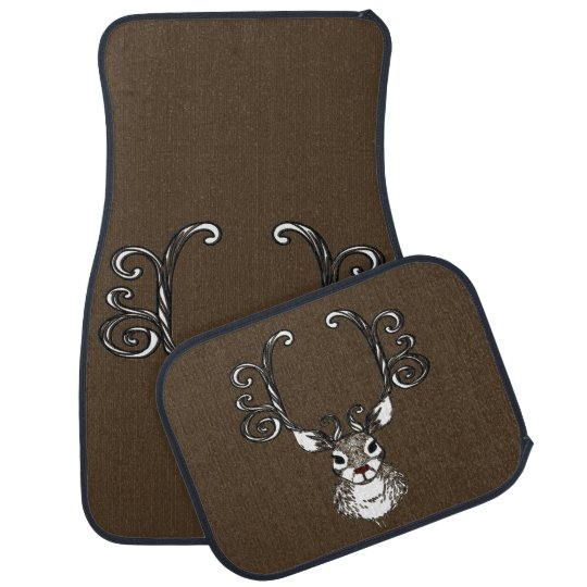 Cute Reindeer brown deer cottage Car Mats Floor Mat