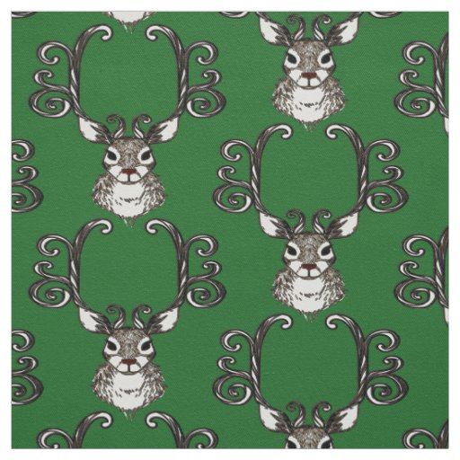 Cute Reindeer brown deer cottage  fabric green