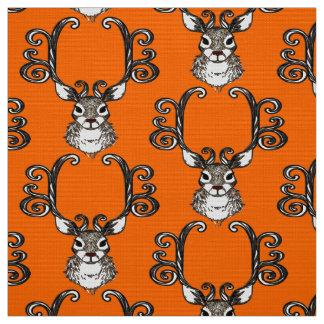 Cute Reindeer brown deer cottage  fabric orange