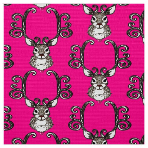 Cute Reindeer brown deer cottage  fabric pink