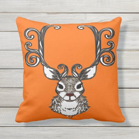 Cute Reindeer brown deer cottage outdoor orange Outdoor Cushion