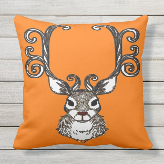 Cute Reindeer brown deer cottage outdoor orange Outdoor Cushion