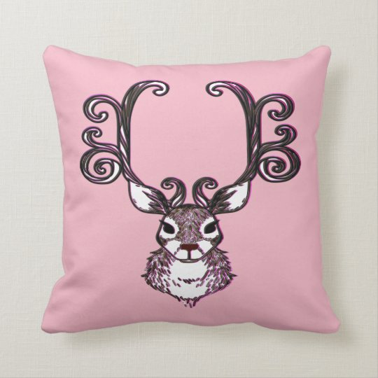 Cute Reindeer brown deer cottage outdoor pink Throw Pillow