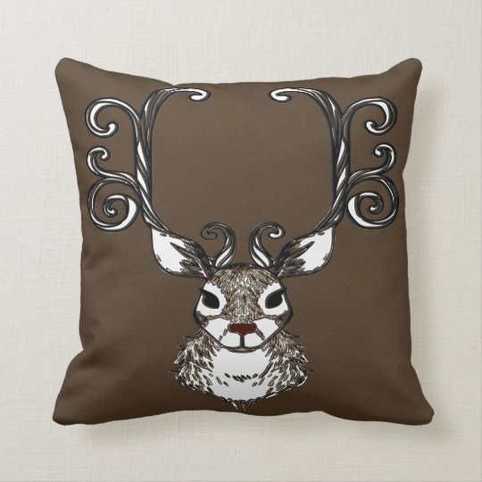 Cute Reindeer brown deer  cottage pillow