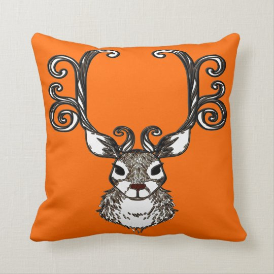 Cute Reindeer brown deer  cottage pillow orange