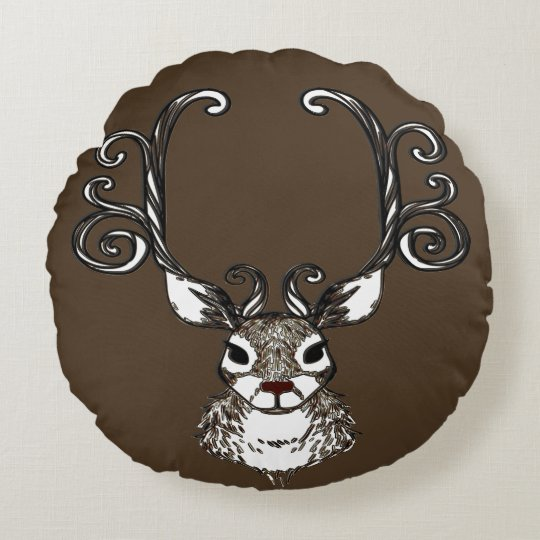 Cute Reindeer brown deer cottage pillow round