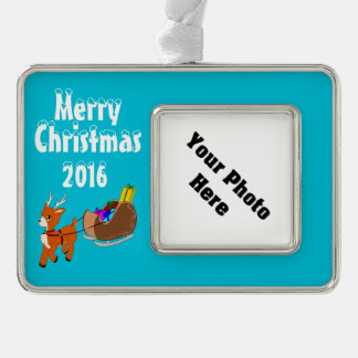 Cute Reindeer Christmas Custom Framed Ornament