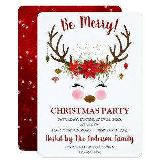 Cute Reindeer Christmas Holiday Dinner Party Card