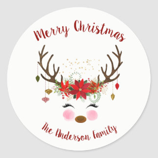Cute Reindeer Christmas Holiday Envelope Seal
