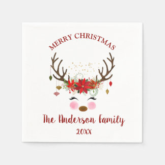 Cute Reindeer Christmas Holiday Party Napkins Paper Napkins