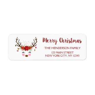 Cute Reindeer Christmas Holiday Party Return Address Label