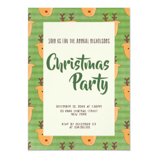 Cute Reindeer Christmas Pattern Holiday Party Card