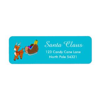 Cute Reindeer Christmas Return Address Label