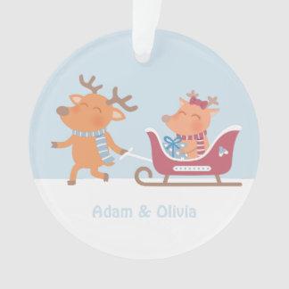 Cute Reindeer Couple on Sleigh Christmas Ornament