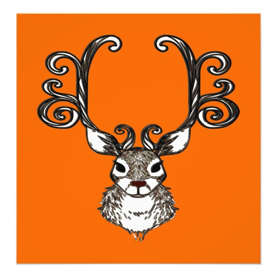 Cute Reindeer deer brown Canvas Print orange
