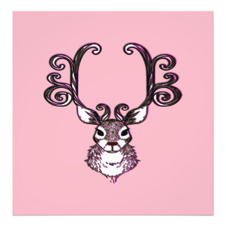 Cute Reindeer deer brown Canvas Print pink