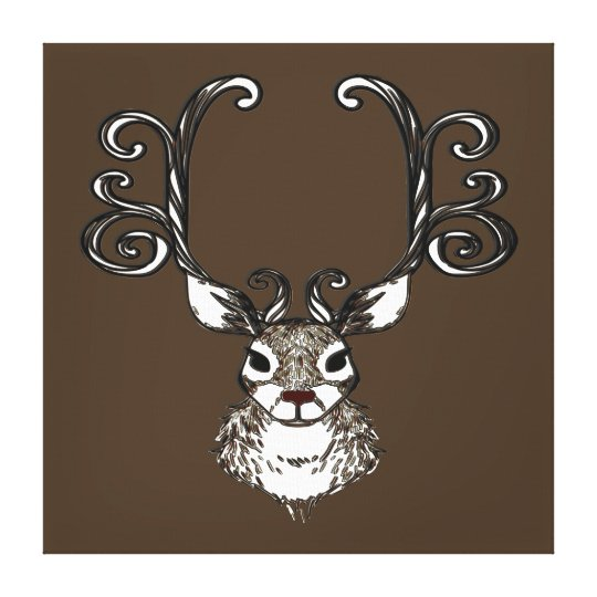 Cute Reindeer deer brown print art
