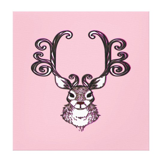 Cute Reindeer deer brown print art pink