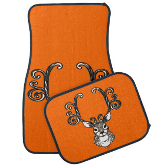 Cute Reindeer deer cottage Car Mats orange