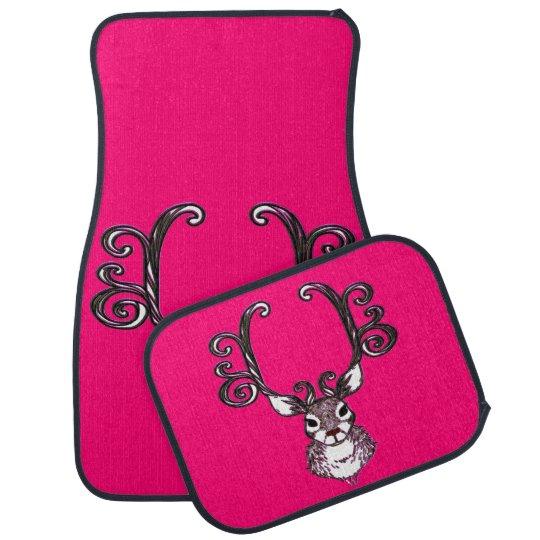 Cute Reindeer deer cottage Car Mats pink
