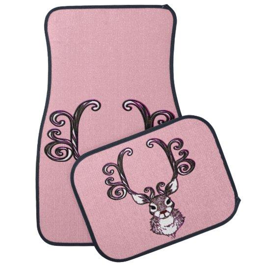 Cute Reindeer deer cottage Car Mats pink Floor Mat