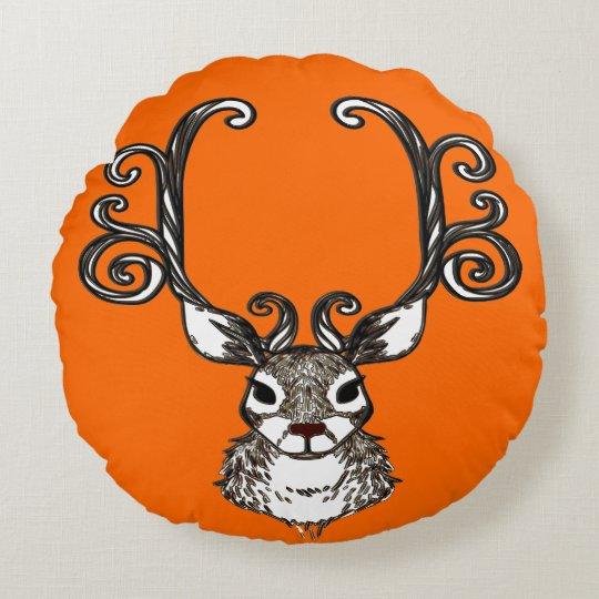 Cute Reindeer deer cottage pillow round orange