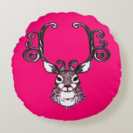 Cute Reindeer deer cottage pillow round pink