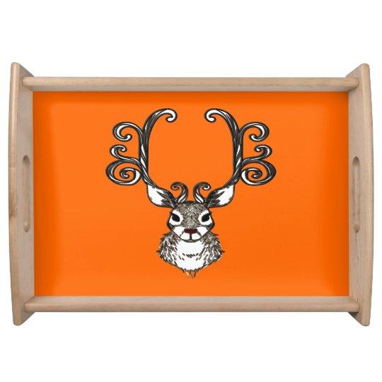 Cute Reindeer deer cottage serving tray orange