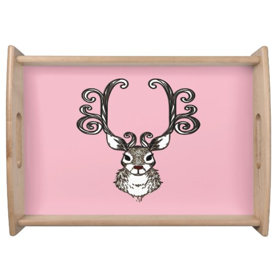 Cute Reindeer deer cottage serving tray pink