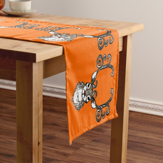 Cute Reindeer  deer cottage table runner orange