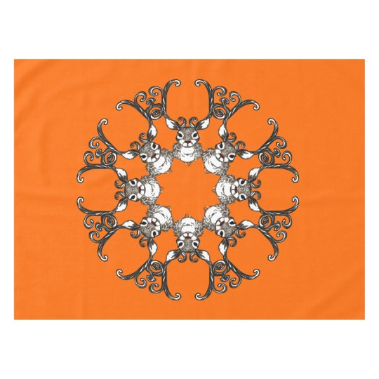 Cute Reindeer deer cottage tablecloth orange