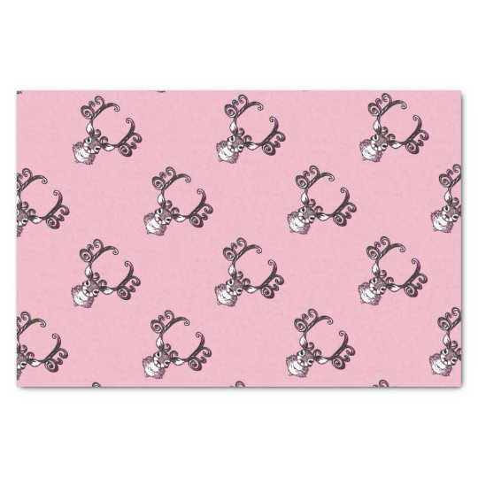 Cute Reindeer deer cottage  tissue paper pink