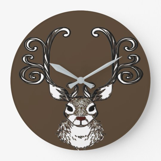 Cute Reindeer deer cottage wall clock brown
