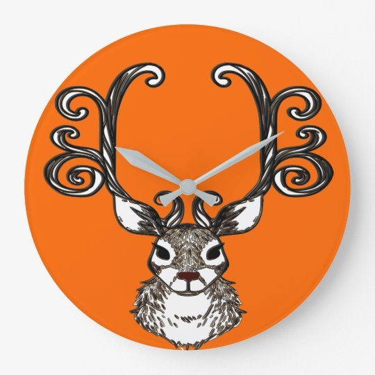 Cute Reindeer deer cottage  wall clock orange