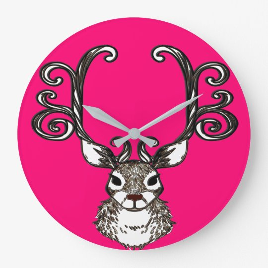Cute Reindeer deer cottage wall clock pink