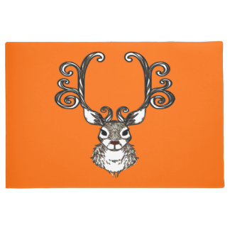 Cute Reindeer deer cottage welcome mat orange