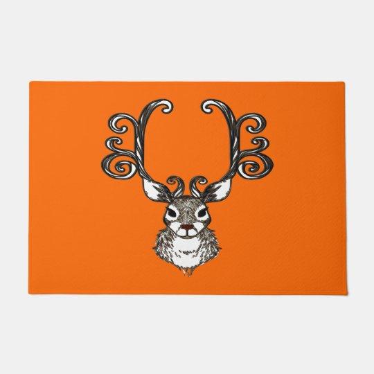 Cute Reindeer deer cottage welcome mat orange