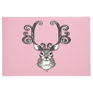 Cute Reindeer deer cottage welcome mat pink