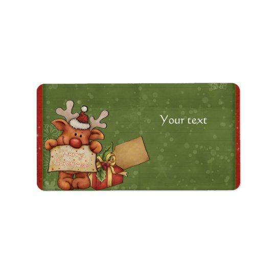Cute Reindeer Design Label