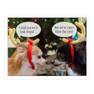 Cute Reindeer Dogs With Customizable Talk Bubbles Postcard