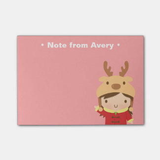 Cute Reindeer Girl Kids Christmas Fillers Post-it Notes